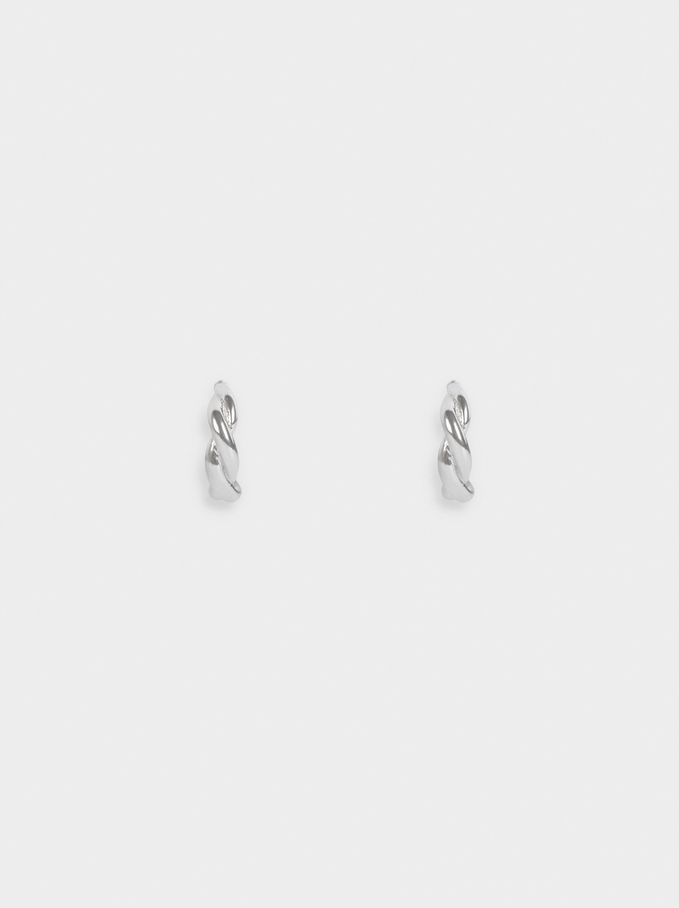 Stainless Steel Short Woven Detail Hoops, Silver, hi-res