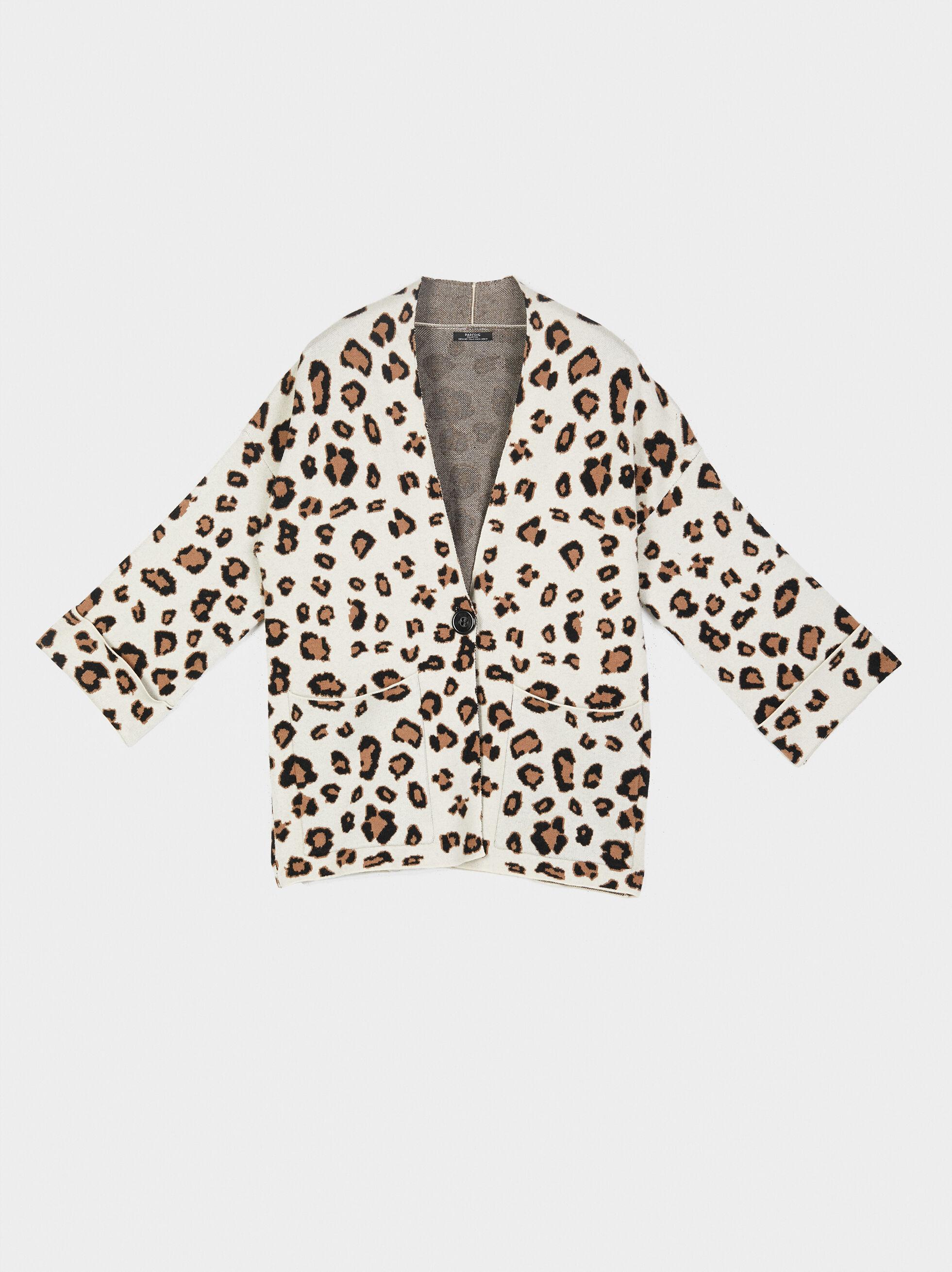 Animal Print Knit Kimono, Beige, hi-res