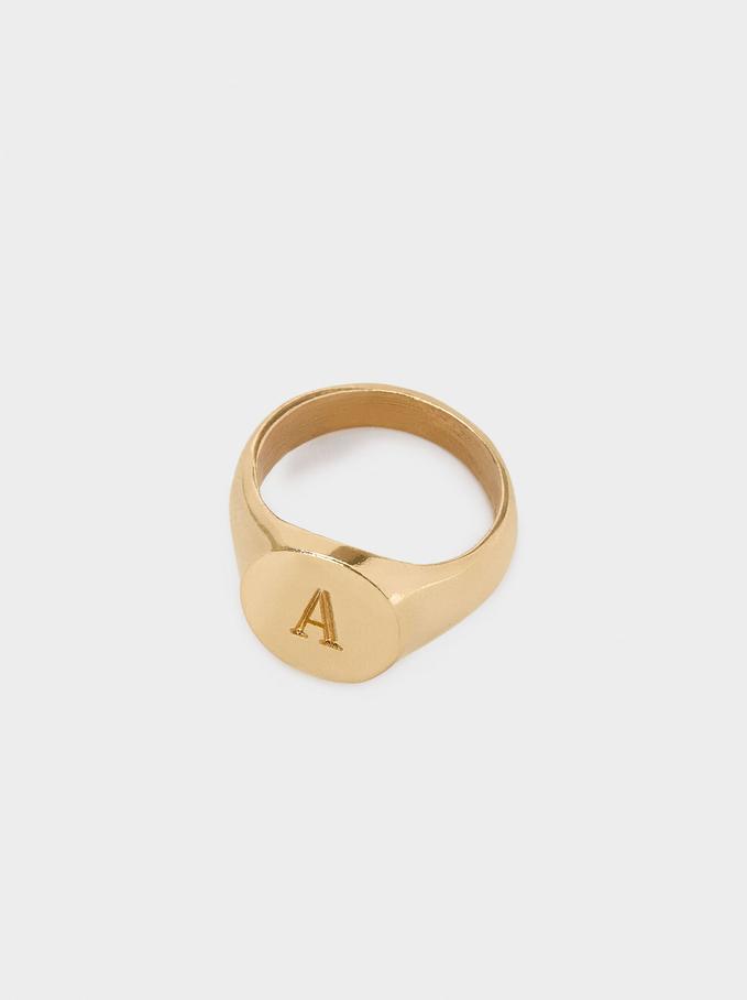 Pinky Finger Signet Ring Size S, Golden, hi-res