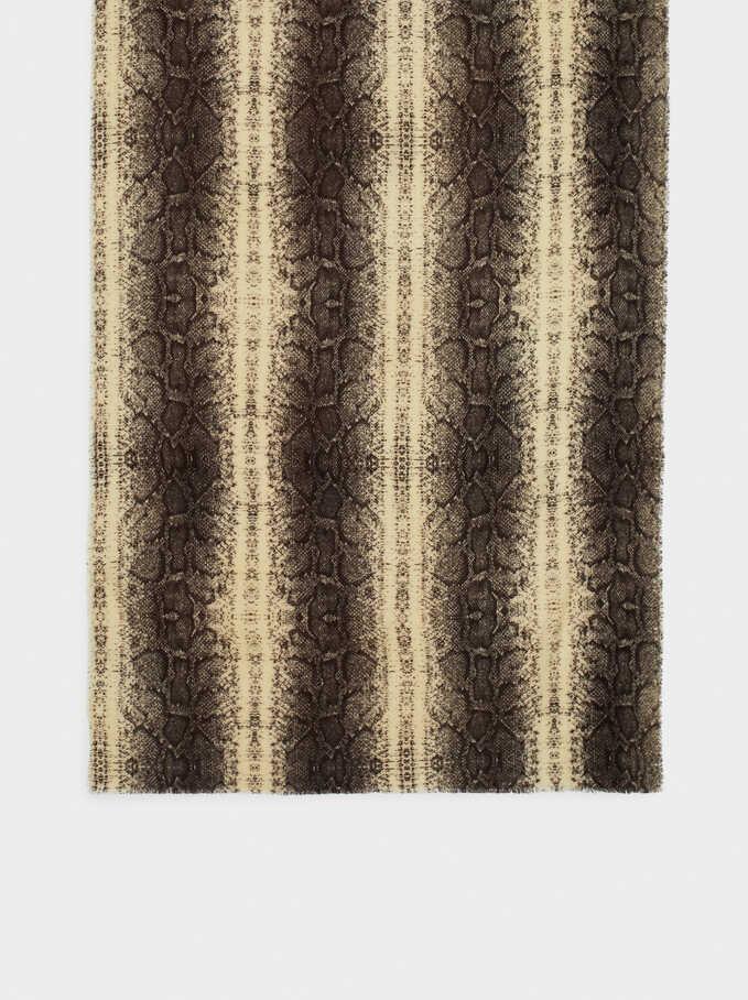 Blanket Scarf With Multicoloured Print, Ecru, hi-res