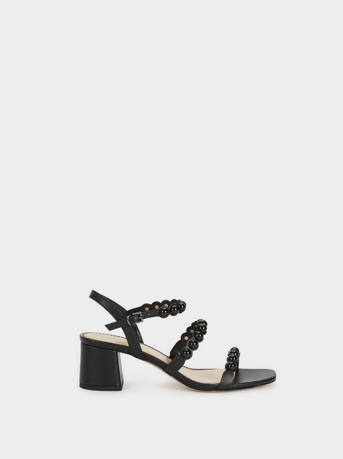 Mid-Heel Sandals With Ball Details, Black, hi-res