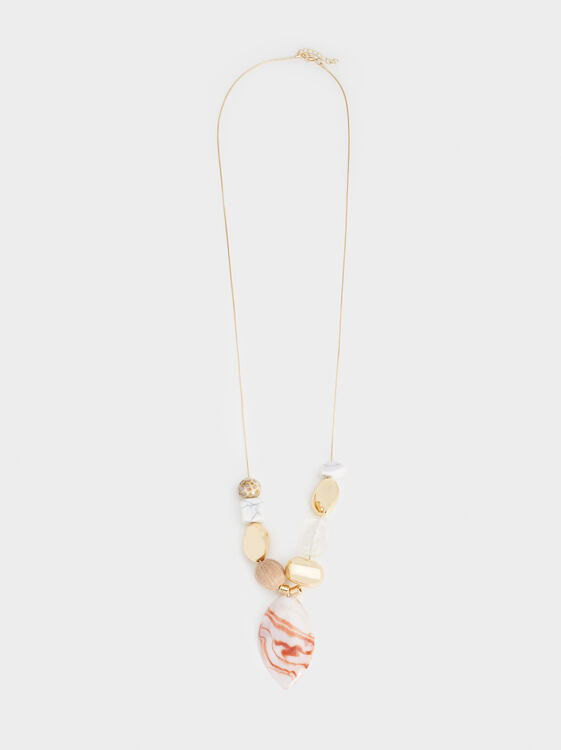 Land Short Necklace With Pendant, Multicolor, hi-res
