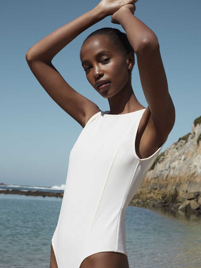 Cross Back Bodysuit, White, hi-res