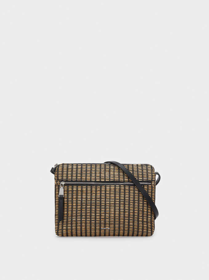 Raffia Textured Crossbody Bag, Black, hi-res