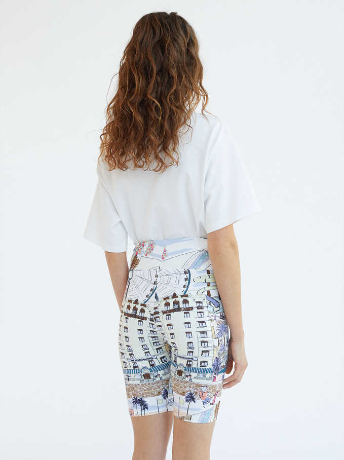 Printed Shorts, Ecru, hi-res