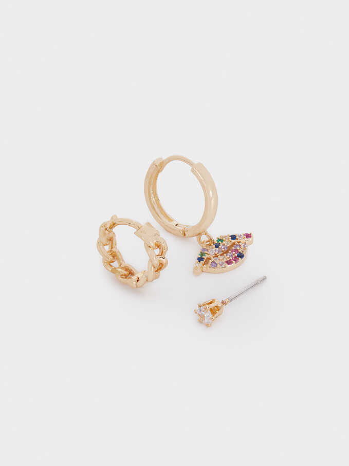 Set Of Small Charm Hoops, Golden, hi-res