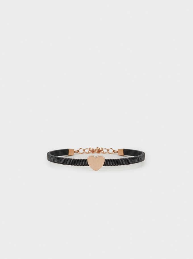 Steel Bracelet With Heart, Black, hi-res