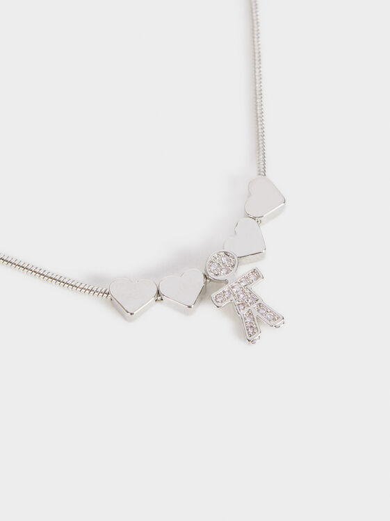 Boy'S Short Heart Necklace, Silver, hi-res
