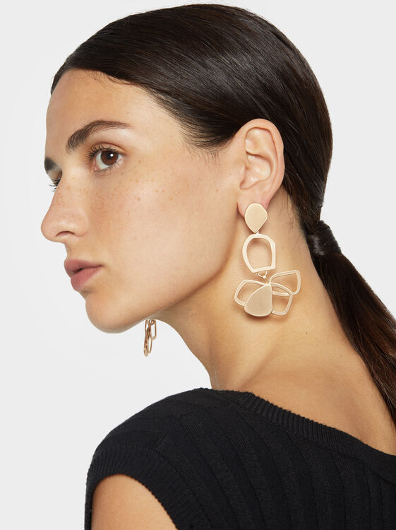 Exclusive Collection Flower Dangle Earrings, Golden, hi-res