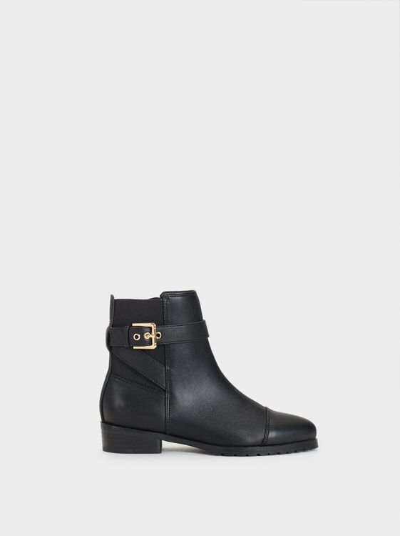 Ankle Boots With Buckle Detail, , hi-res