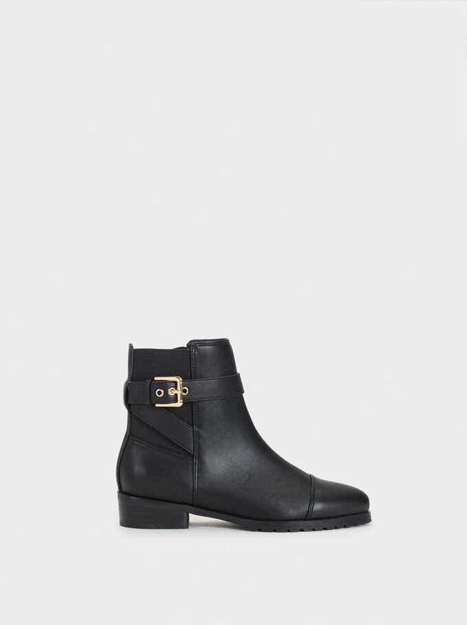 Ankle Boots With Buckle Detail, Black, hi-res