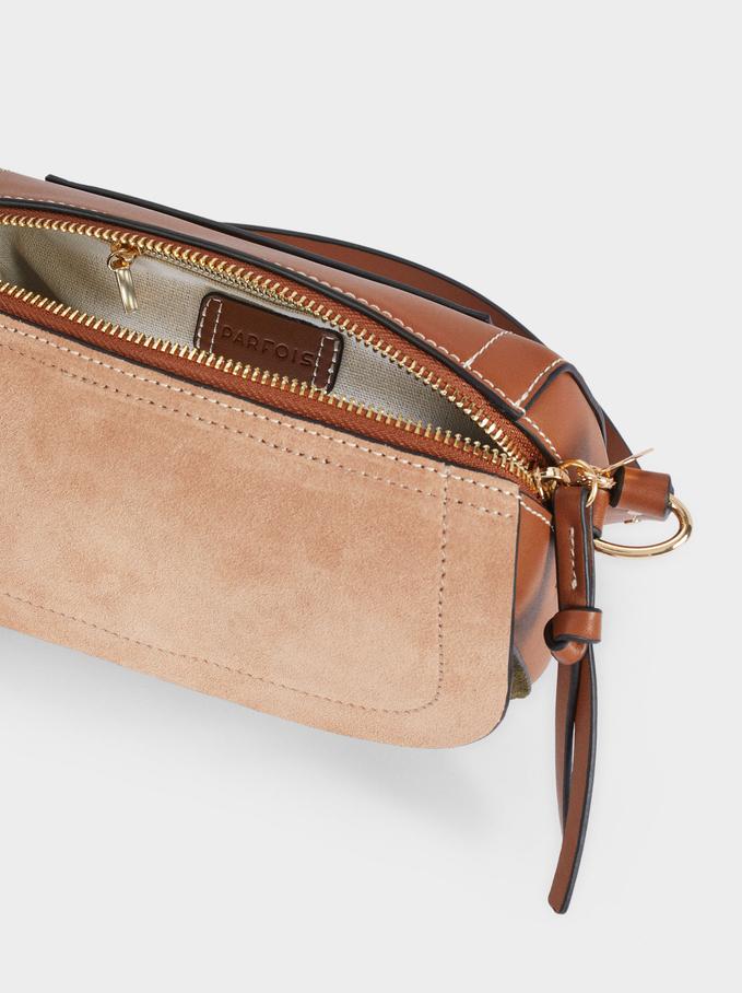 Suede Crossbody Bag, Khaki, hi-res