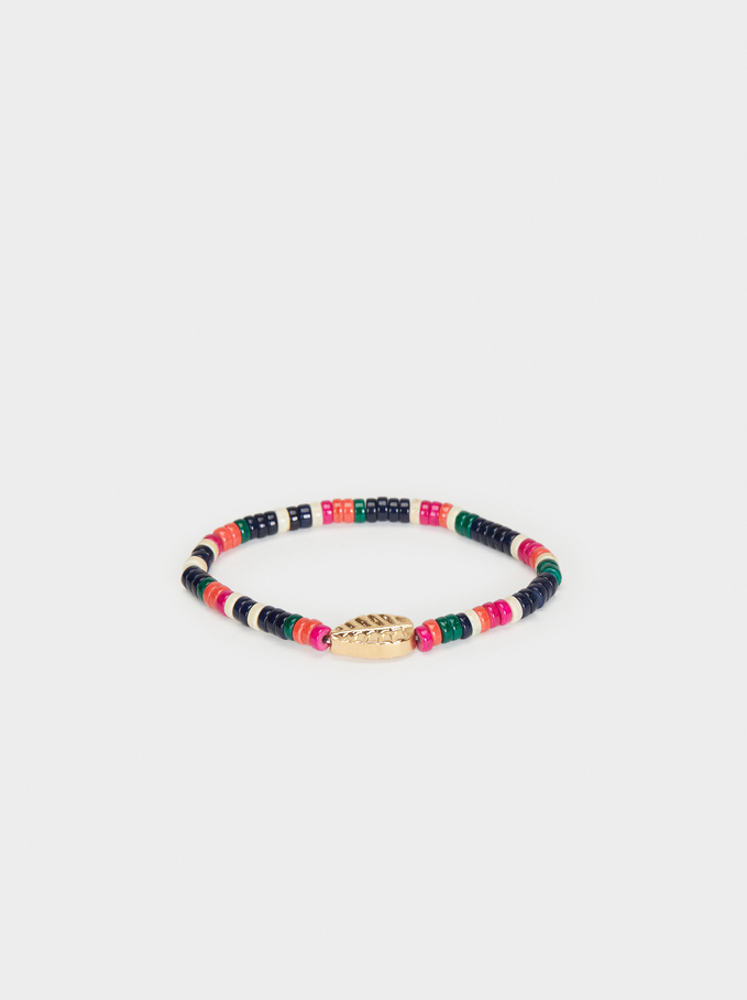 Wild Color Elastic Leaf Bracelet, Multicolor, hi-res
