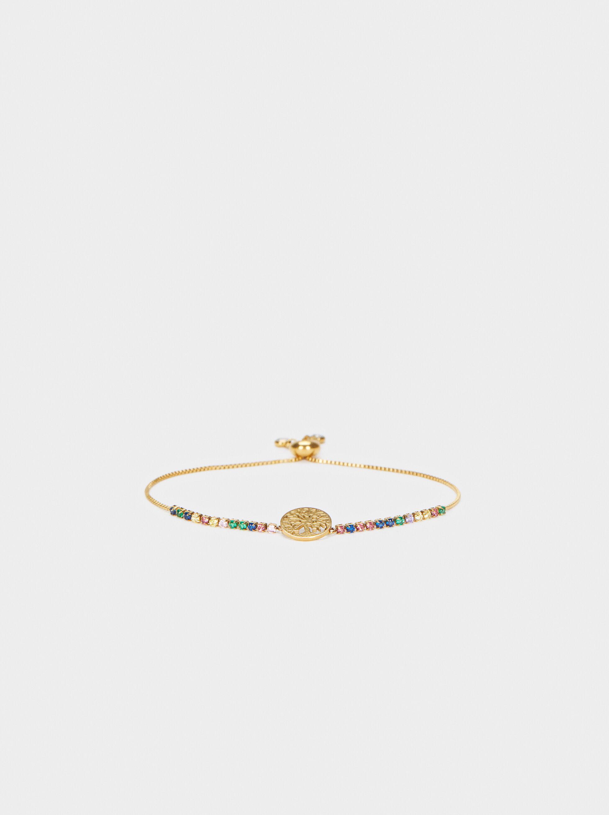 Bracelet Réglable En Acier Doré À Cristaux, Multicolore, hi-res