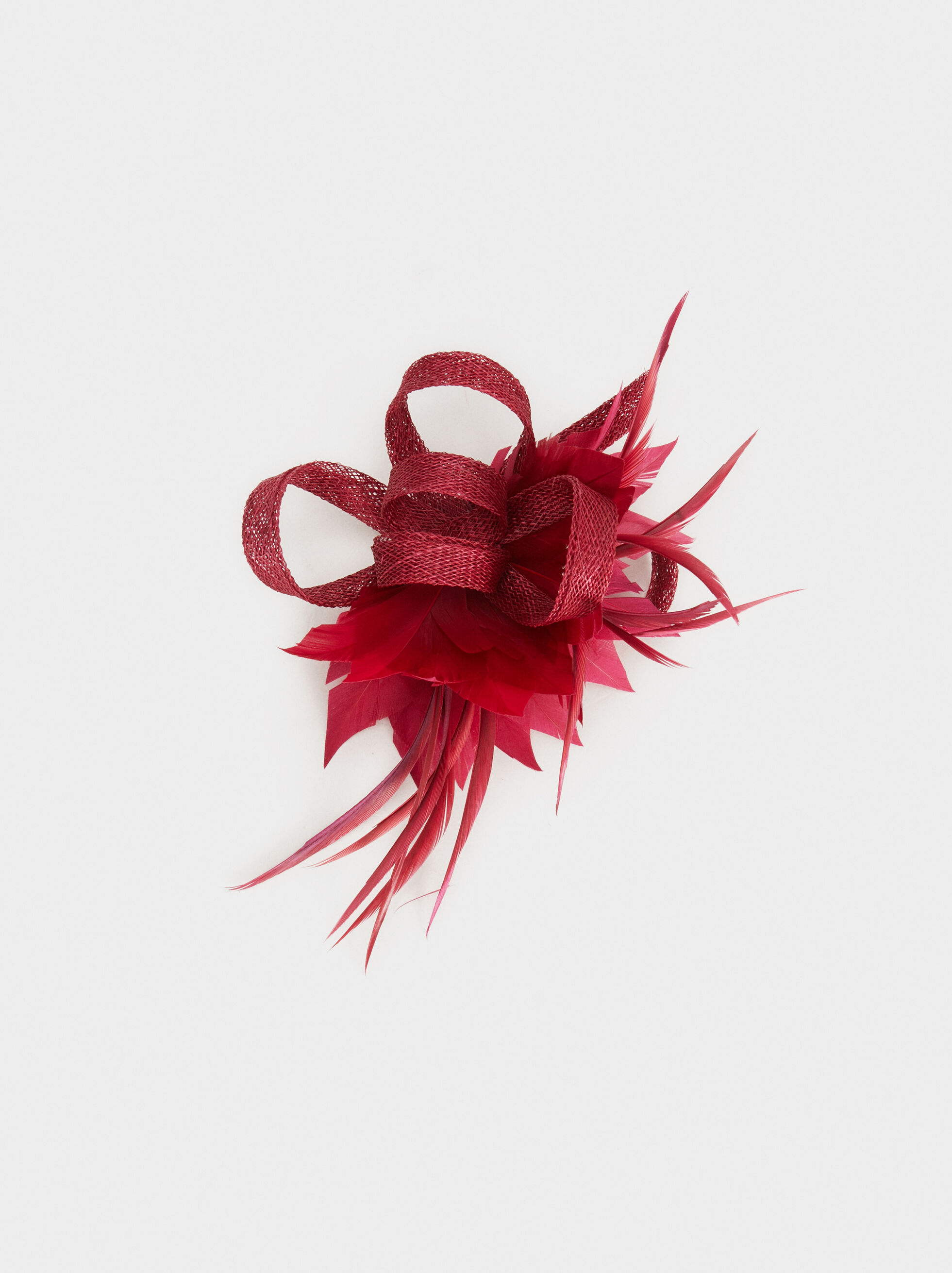 Fascinator With Feather And Bow, Red, hi-res