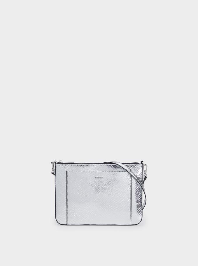 Embossed Animal Print Crossbody Bag, Silver, hi-res