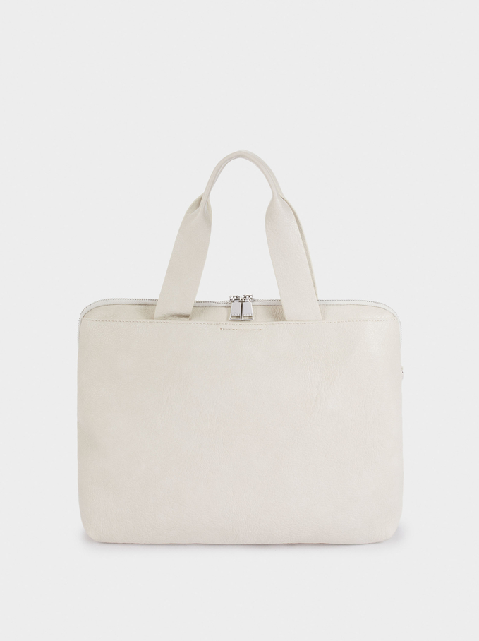 "Briefcase For 13"" Laptop, Ecru, hi-res"
