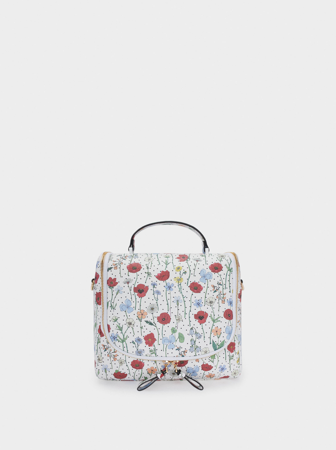 Floral Print Lunch Bag, Red, hi-res