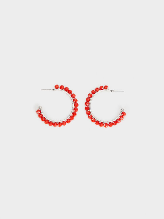 Red Beaded Medium Hoop Earrings, Red, hi-res