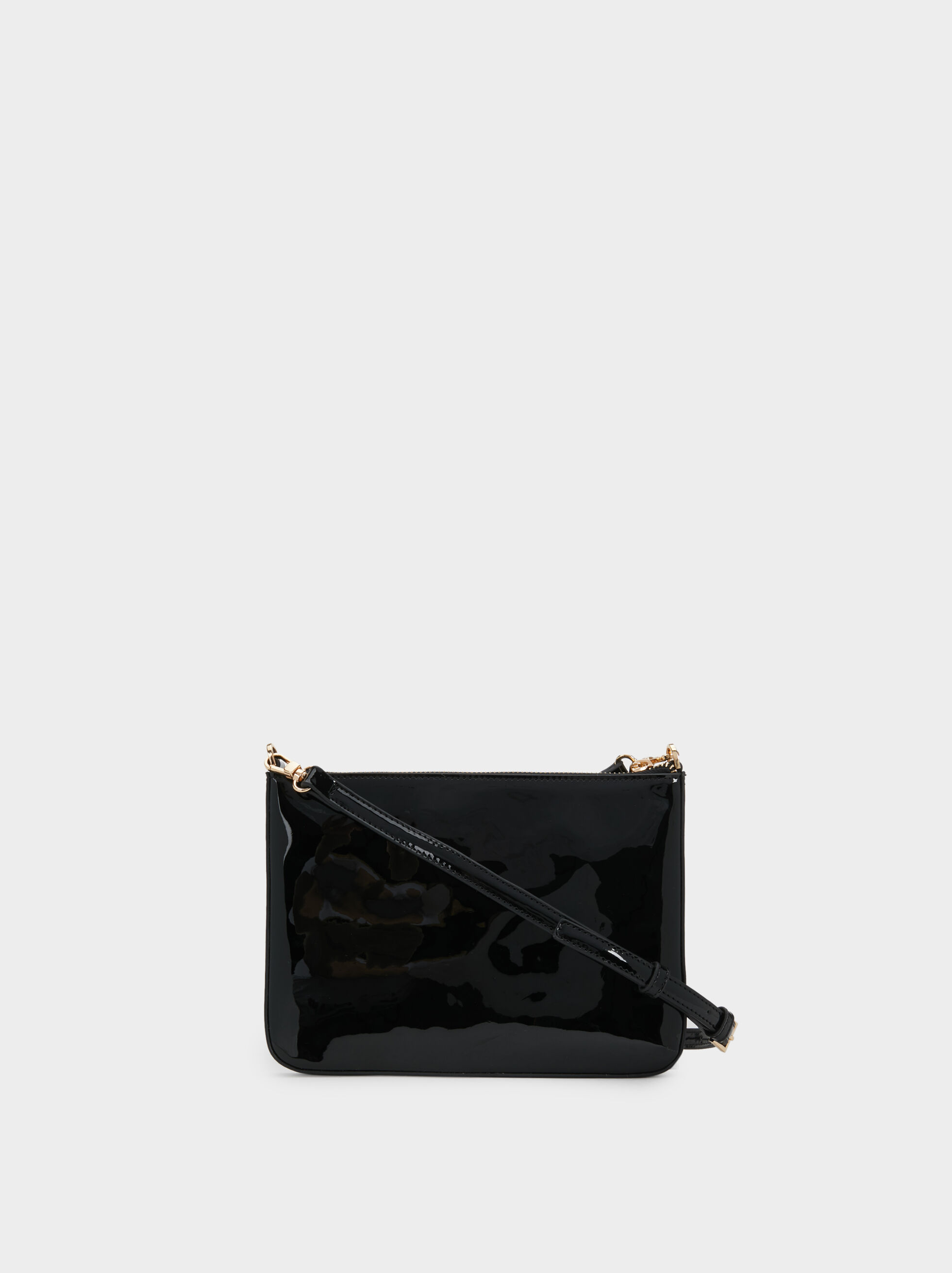 Patent Finish Crossbody Bag, Black, hi-res