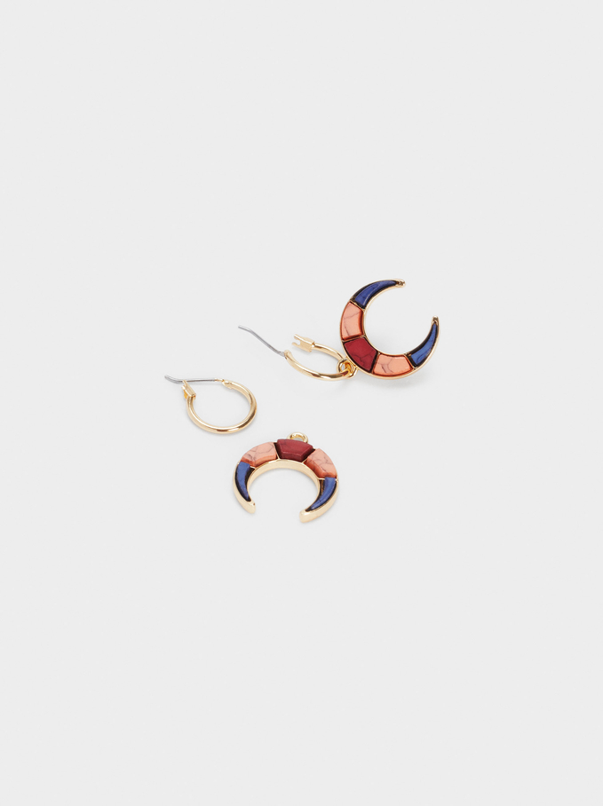 Earrings With Horn, Multicolor, hi-res