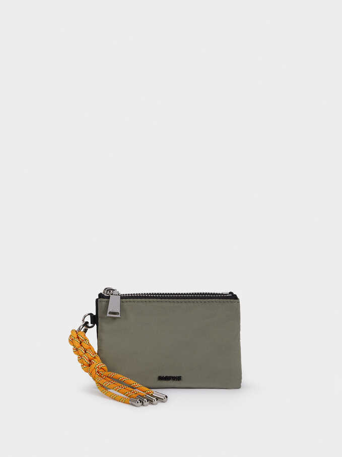 Nylon Multi-Purpose Bag With Cord Detail, Khaki, hi-res