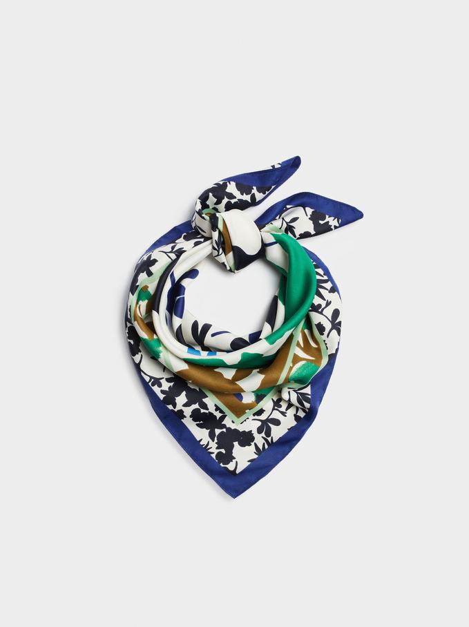 Lenço Quadrado Estampado Fabricado Com Materiais Reciclados, Azul, hi-res