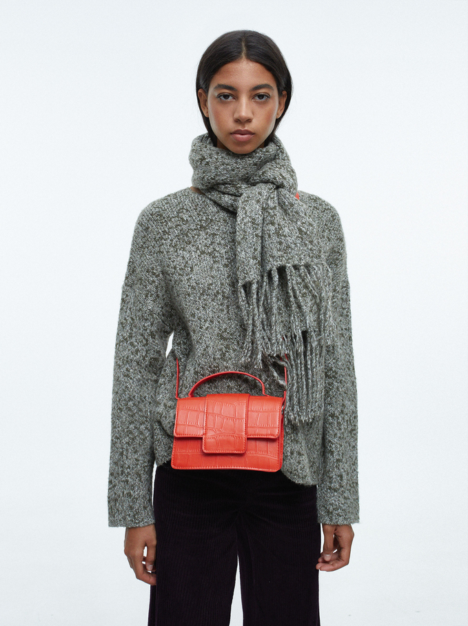 Round-Neck Knit Sweater With Scarf, Khaki, hi-res