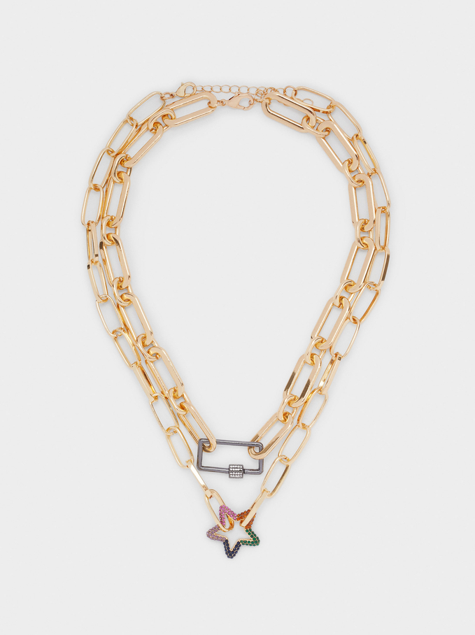 Set Of Short Necklaces With Star And Crystals, Multicolor, hi-res