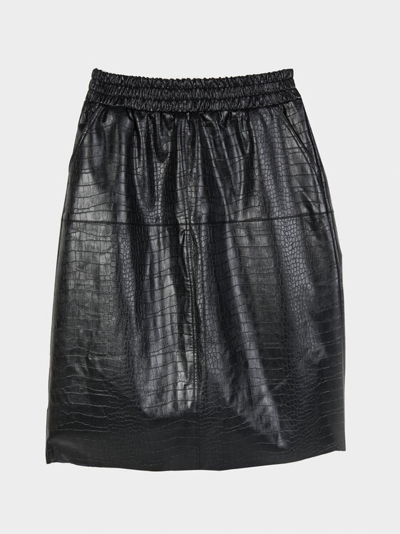 Mock Croc Skirt, Black, hi-res