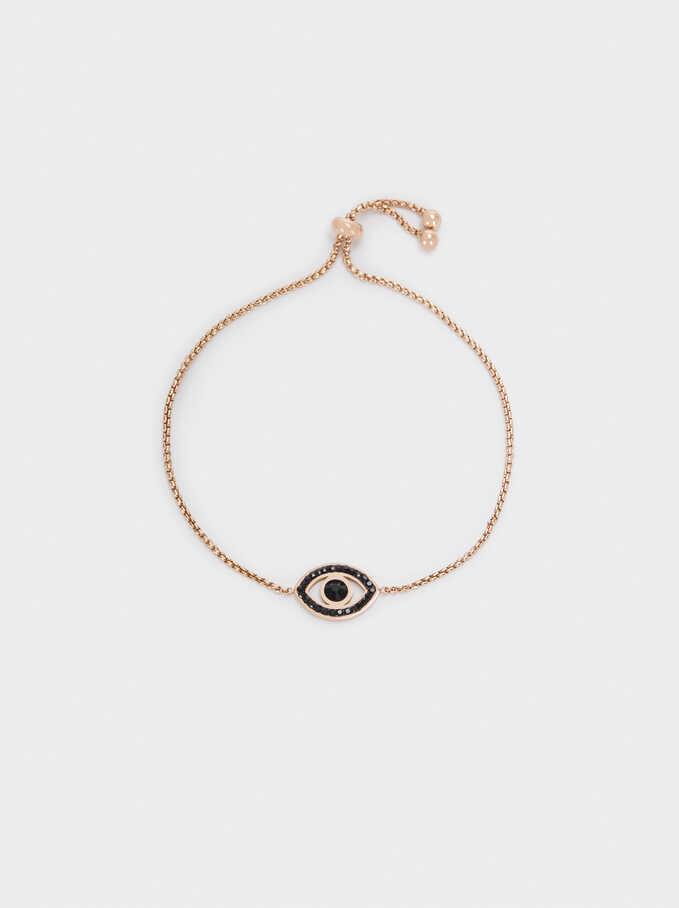 Adjustable Stainless Steel Bracelet With Eye And Crystals, Orange, hi-res