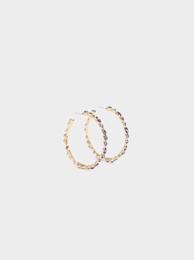 Watercolor Hoop-Earrings, Multicolor, hi-res