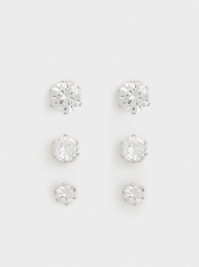 Set Of Rhinestone Studs, Silver, hi-res
