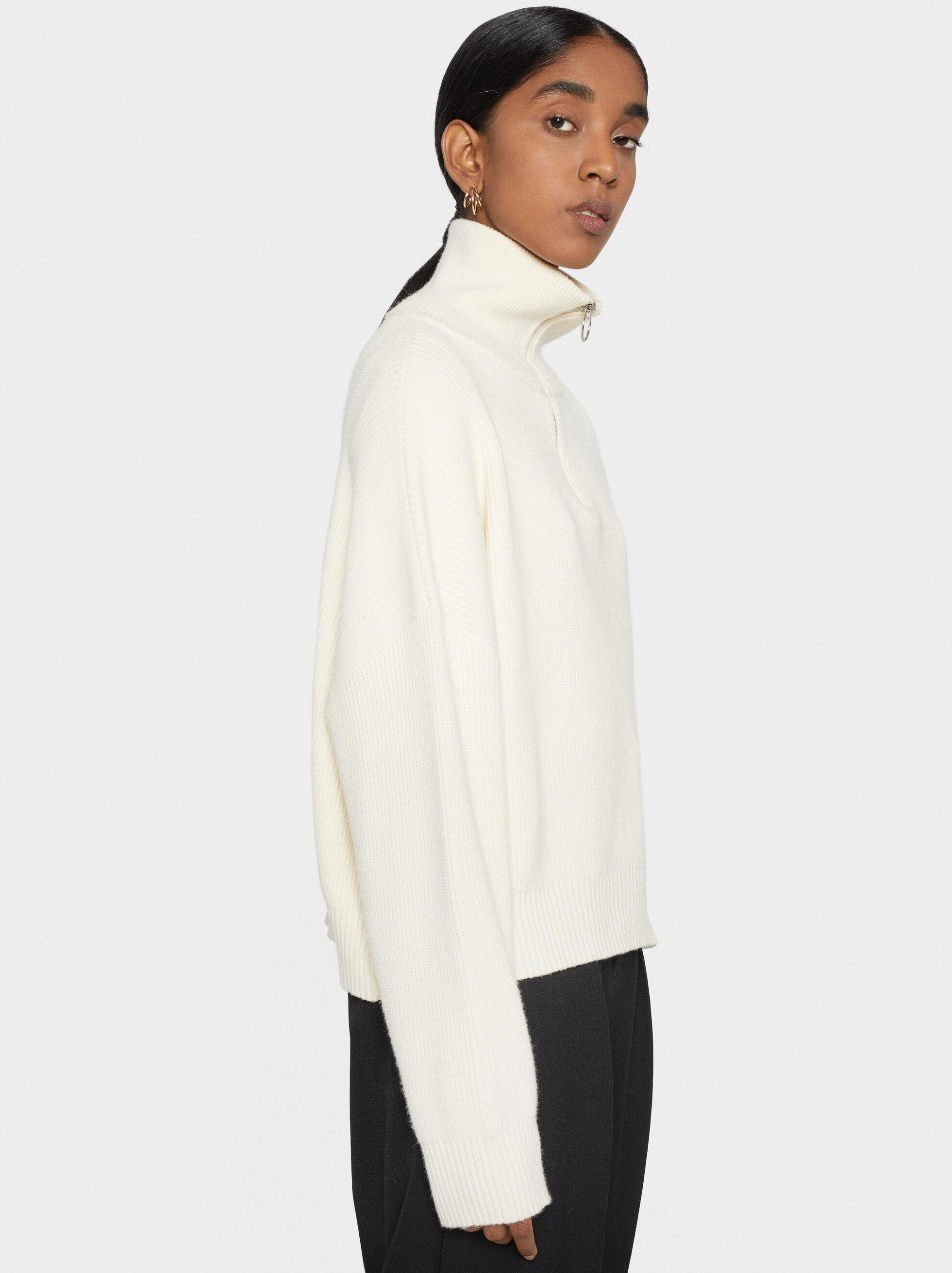 Knit Sweater With Zip, Ecru, hi-res
