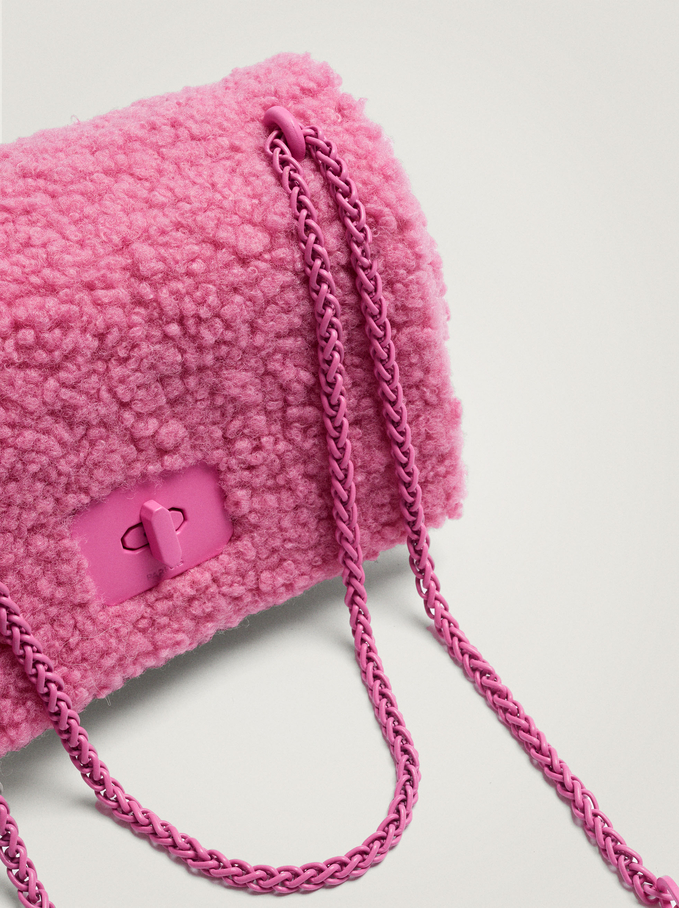 Faux Fur Crossbody Bag With Chain Handle, Pink, hi-res