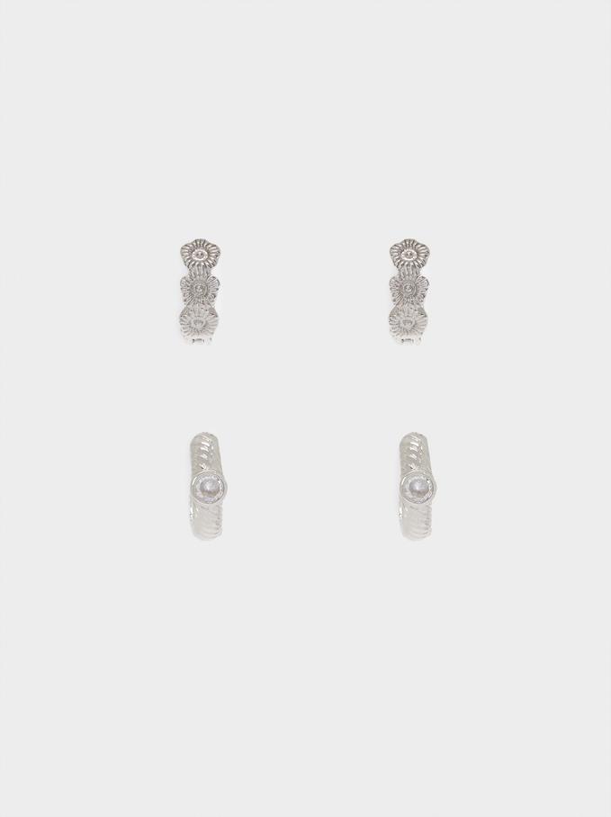 Conjunto De Aros Con Cristales, Plateado, hi-res