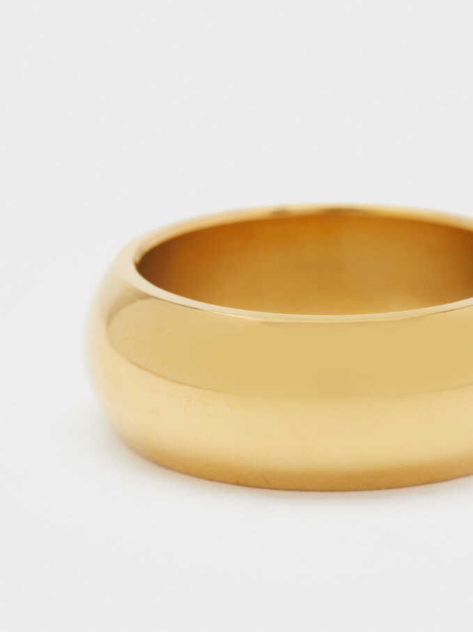 Silver-Plated Stainless Steel Ring, Golden, hi-res