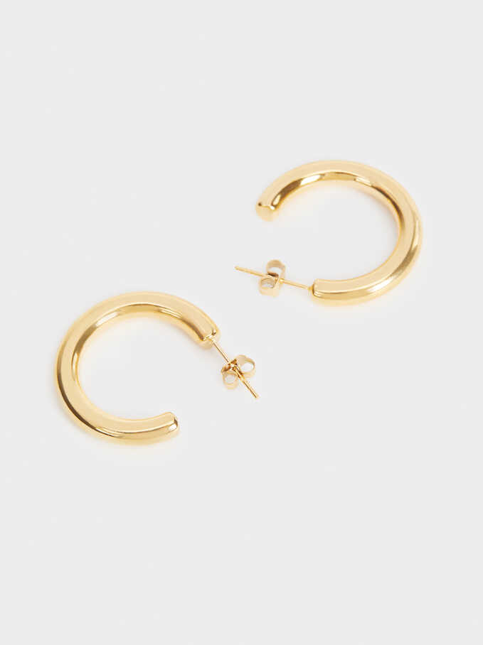 Small Steel Hoop Earrings, Golden, hi-res