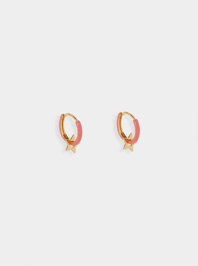 925 Sterling Silver Small Hoop Earrings, Coral, hi-res