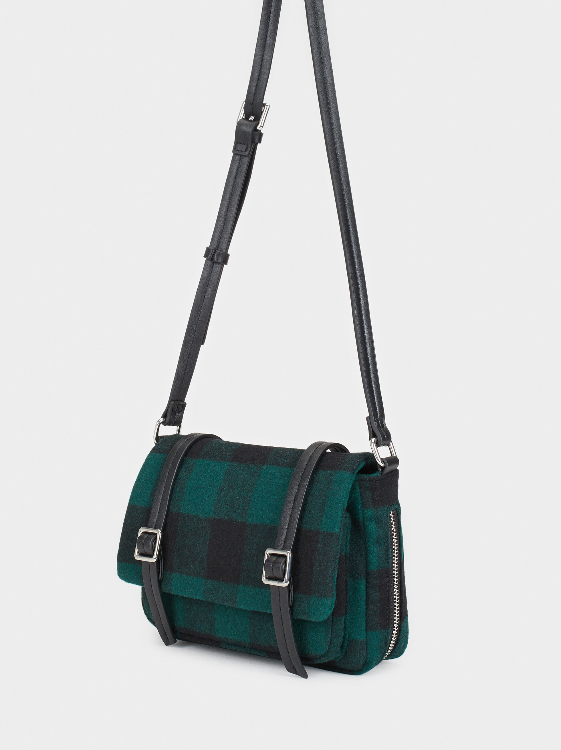 Checked Print Crossbody Bag, Green, hi-res