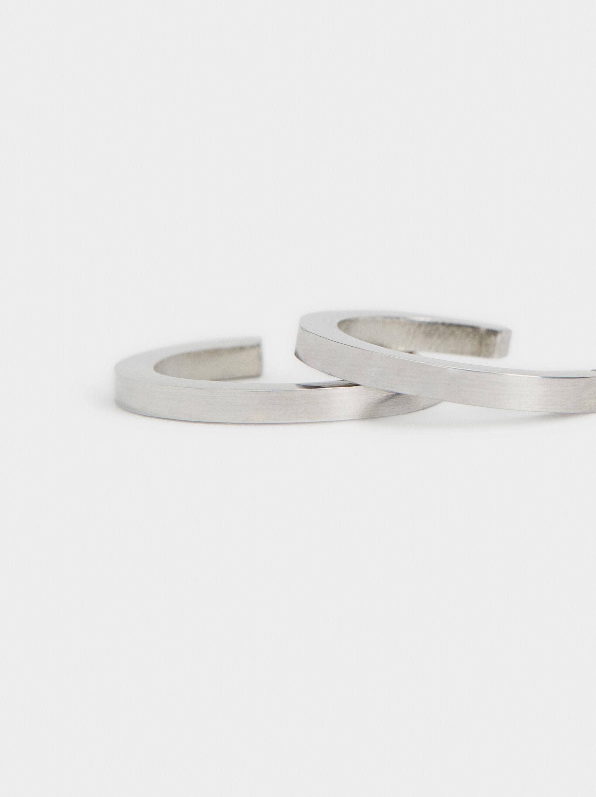 Small Steel Hoop Earrings , Silver, hi-res