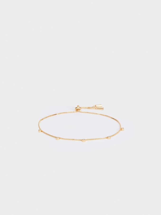 Adjustable 925 Silver Rhinestone Bracelet, Golden, hi-res