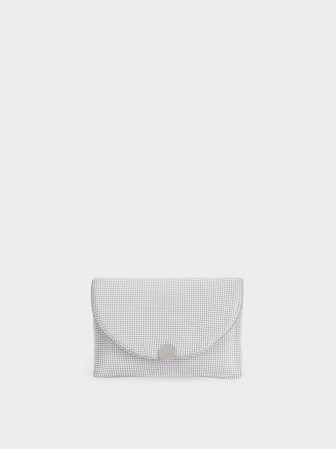 Mesh Party Clutch, Silver, hi-res