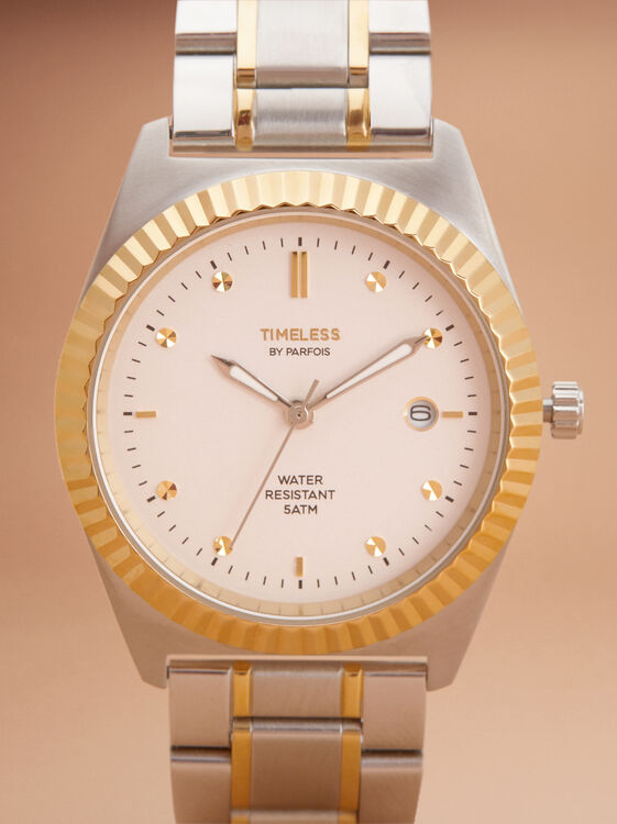 Steel Watch With Gold Details, Silver, hi-res