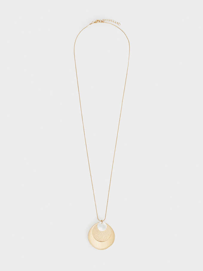 Long Necklace With Pendant , Golden, hi-res