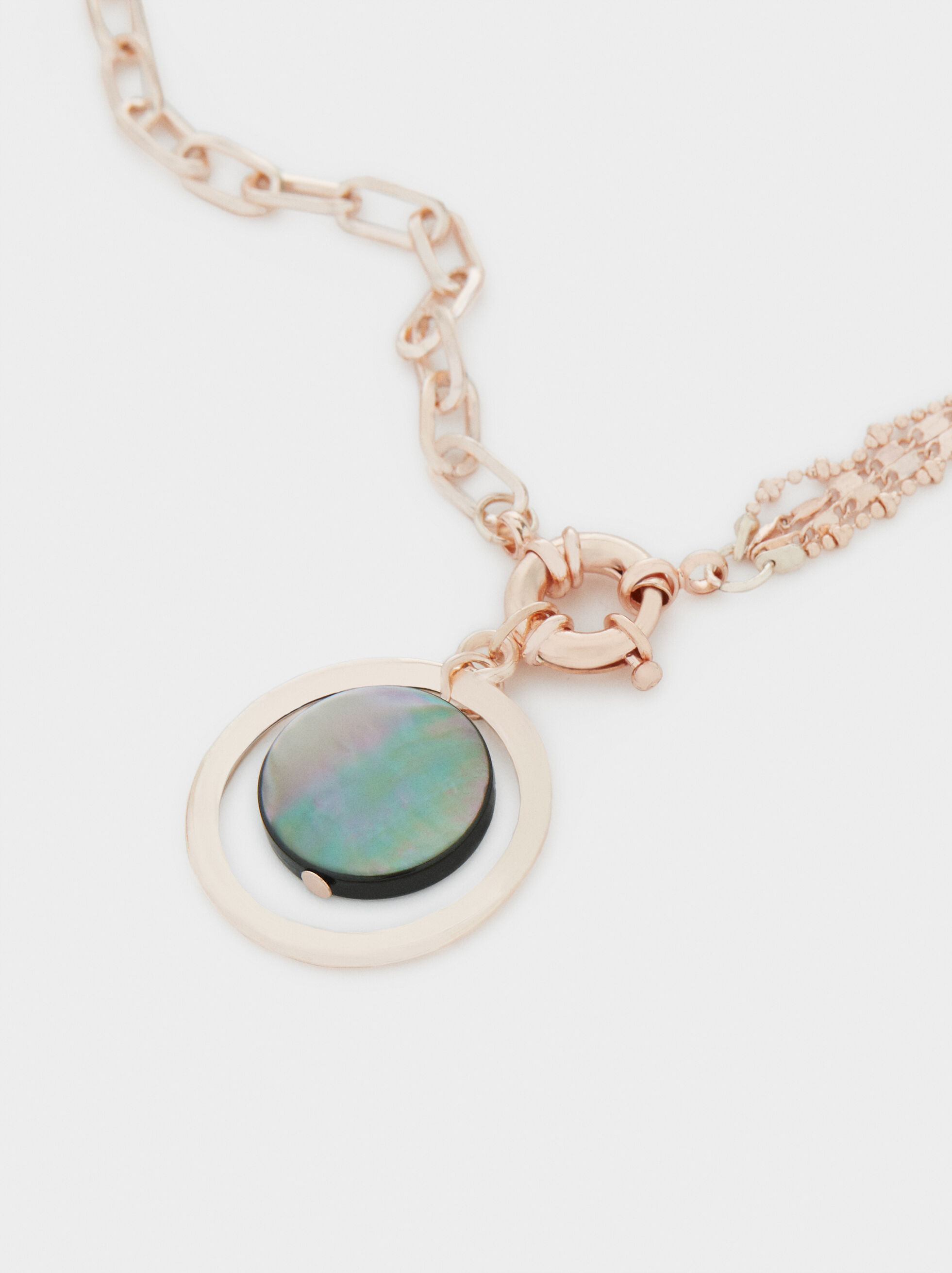Necklace With Multicoloured Pendant, Orange, hi-res