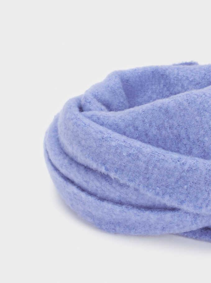 Blanket Scarf With Fringing, Blue, hi-res