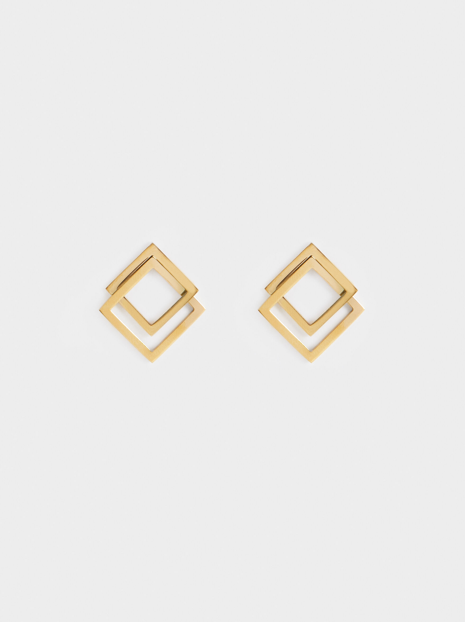 Small Steel Diamond-Shaped Earrings, , hi-res