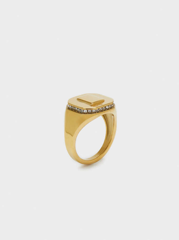 Stainless Steel Signet Ring, Golden, hi-res