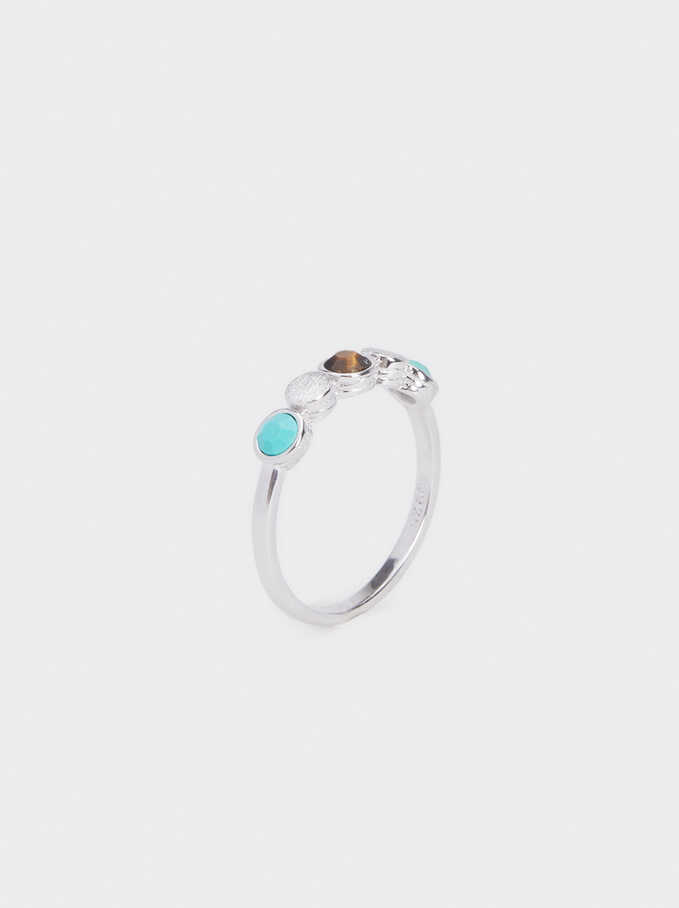 925 Silver Ring With Stones, Beige, hi-res